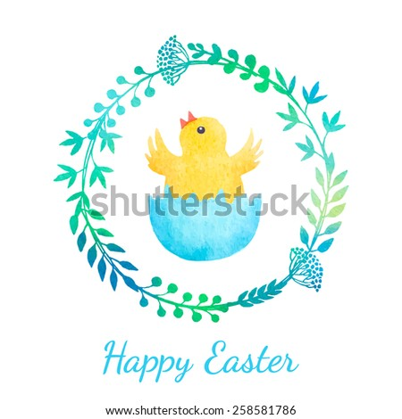 Easter greeting card with chicken in floral wreath. Vector watercolor. - stock vector