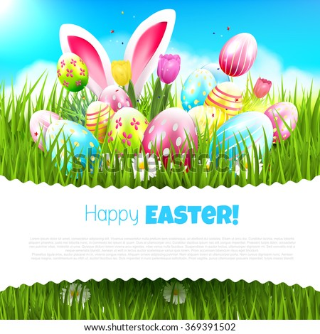 Easter greeting card with colorful eggs and bunny ears in the grass - stock vector
