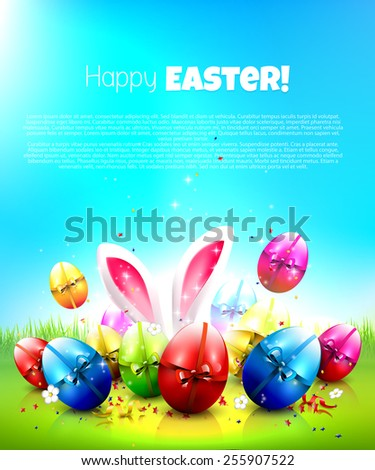 Easter greeting card with colorful eggs and place for your text - stock vector