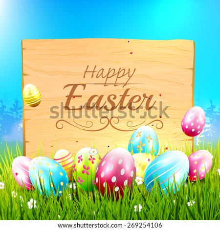 Easter greeting card with colorful eggs and wooden sign in the grass - stock vector