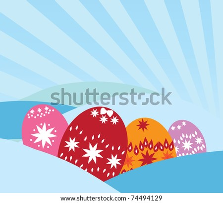 Easter greeting card with decorated eggs and space for text - stock vector