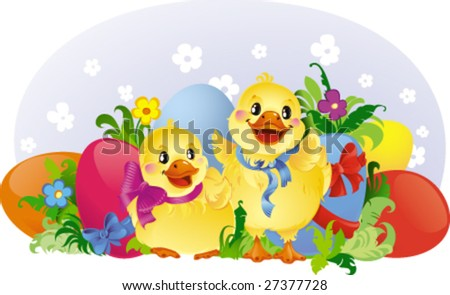 Easter greeting card with ducklings and eggs - stock vector