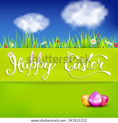 """Easter greeting card with Easter eggs and handwritten text """"Happy Easter"""". Vector illustration for  posters,   greeting cards, print and web projects. - stock vector"""