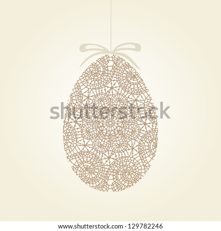Easter greeting card  with egg. - stock vector