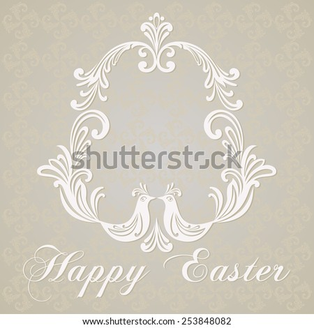 Easter Greeting Card with egg and birds. Vector illustration for your spring happy holiday design. White and  gray color.  - stock vector