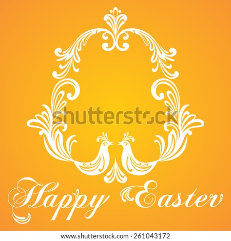 Easter Greeting Card with egg and birds. Vector illustration for your spring happy holiday design. White and orange color.  - stock vector
