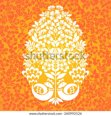 Easter Greeting Card with egg in and birds . Vector illustration for your spring happy holiday design.  - stock vector