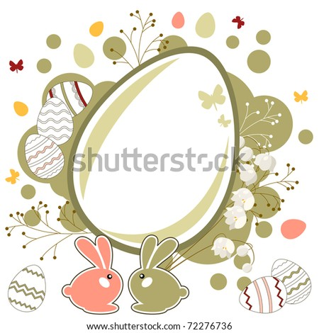 Easter greeting card with eggs and rabbits - stock vector