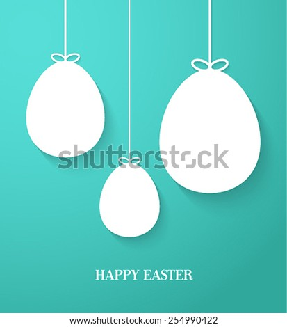 Easter greeting card with hanging paper eggs. Vector illustration. - stock vector