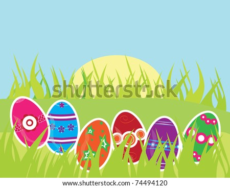 Easter greeting card with multicolor decorated eggs and space for text - stock vector