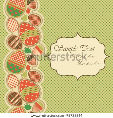 Easter greeting card with seamless border - stock vector