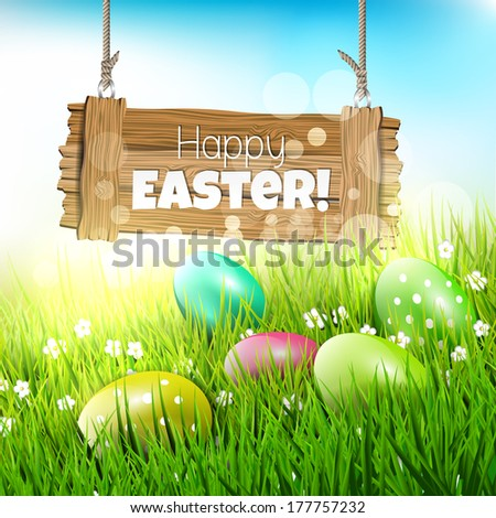 Easter greeting card with wooden sign and colorful eggs in grass - vector illustration - stock vector