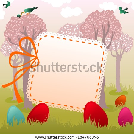 easter greeting with pretty garden full of colored eggs - stock vector
