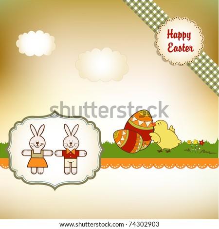 Easter greetings card - stock vector