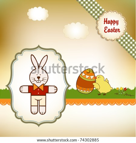 Easter greetings card with rabbit - stock vector
