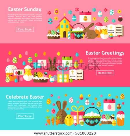 Easter greetings web horizontal banners flat stock vector royalty easter greetings web horizontal banners flat style vector illustration for website header spring holiday m4hsunfo