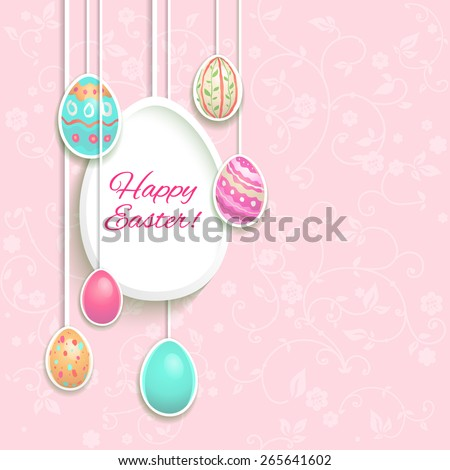 Easter holiday card with hung eggs. Place for text - stock vector