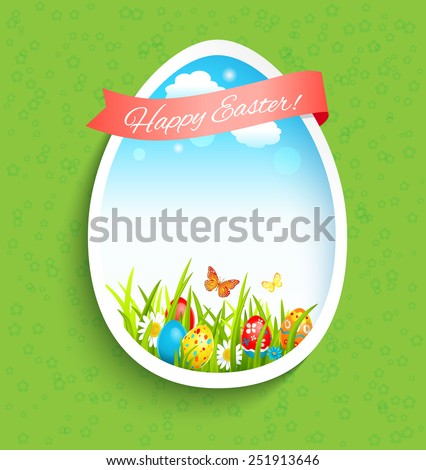 Easter holiday card with shape of egg. - stock vector