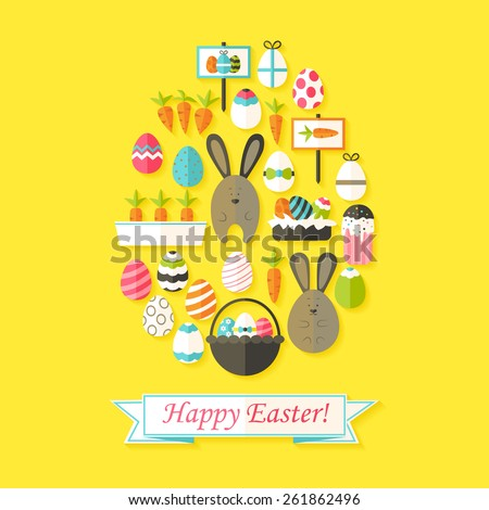Easter Holiday Greeting Card with Flat Icons Set Egg shaped. Greeting card Flat styled with shadows - stock vector
