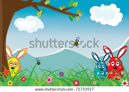 Easter holiday illustration with funny eggs for postcard - stock vector
