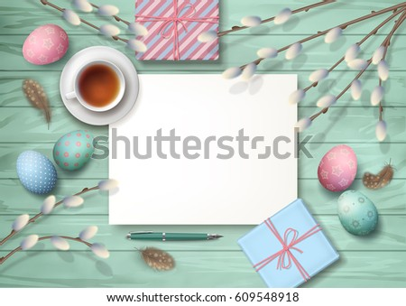 Easter holiday top view wooden background stock vector 609548918 easter holiday top view wooden background with gifts pen blank paper sheet cup negle Images