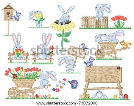 Easter icons,bunnies - stock vector