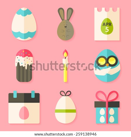 Easter icons set with shadows over pink. Flat styled objects set  - stock vector