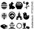 Easter icons-silhouettes - stock vector