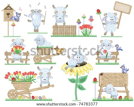 Easter icons with sheep - stock vector