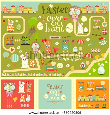 Easter Invitation Card and Easter Elements. Easter Egg Hunt. Vector Illustration. - stock vector