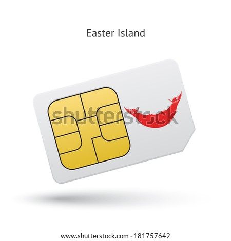 Easter Island mobile phone sim card with flag. Vector illustration. - stock vector