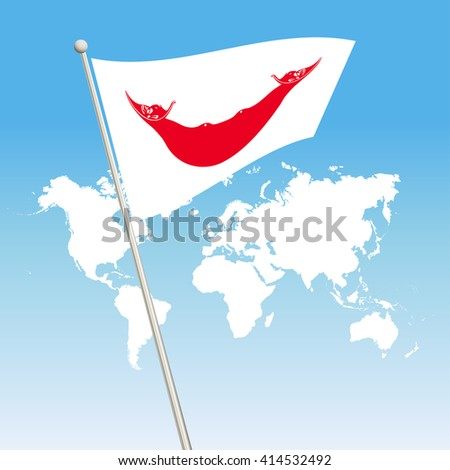 Easter Island Rapa Nui Flag. waving flag