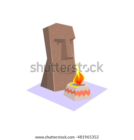 Easter Island Style Monument Jungle Village Landscape Element. Cool Colorful Vector Illustration In Stylized Geometric Cartoon Design