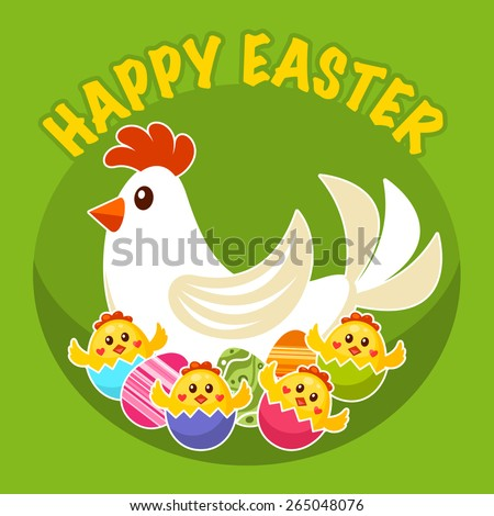 Easter label with chicken and chicks in broken eggs - stock vector