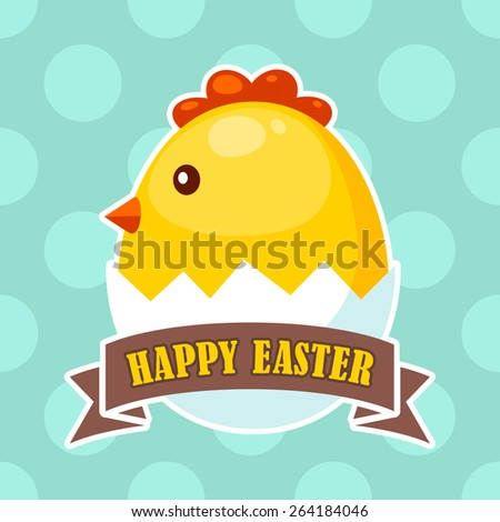 Easter label with cute chick icon in broken egg - stock vector