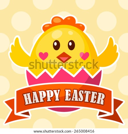 Easter label with cute chick icon in broken egg and ribbon - stock vector