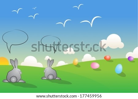easter landscape eps10 - stock vector