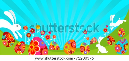Easter landscape with bunnies and colored eggs