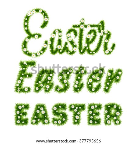 Easter Lettering Template with grass and flowers. Vector illustration EPS10