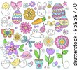 Easter Notebook Doodles Vector Design Elements Set with Daffodils, Bunny, Easter Eggs, and Chicks on Lined Sketchbook Paper Background - stock vector