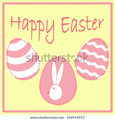 Easter Postcard Template Eggs Bunny Head Stock Vector