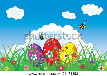 Easter postcard with colored eggs in nature - stock vector