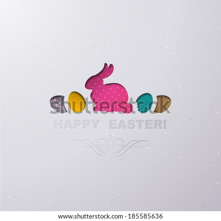 Easter postcard with cut out vintage colored paper egg and Easter bunny.  - stock vector