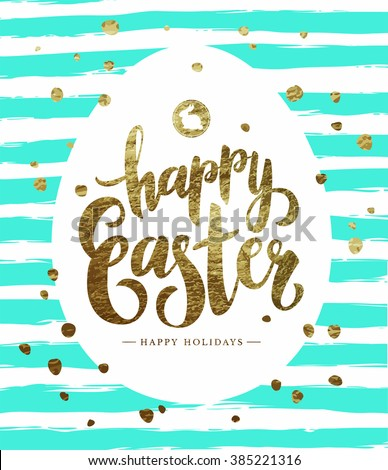 Easter Postcard with Grunge Striped Background and Gold Foil Calligraphic Text.