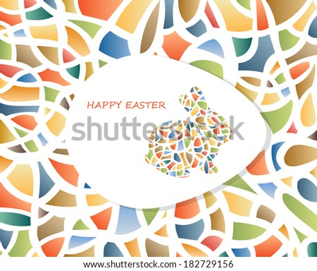 Easter postcard with  rabbit and egg on abstract background - stock vector