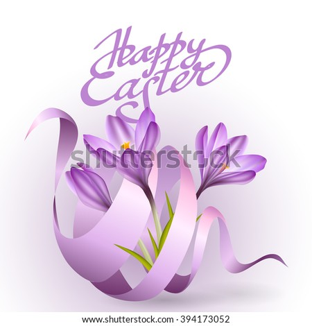 Easter poster with blue ribbon and crocus flowers. Vector illustration. illustration crocus flower. Spring crocus flower. Greeting easter card crocus flower. Beautiful crocus flower  - stock vector