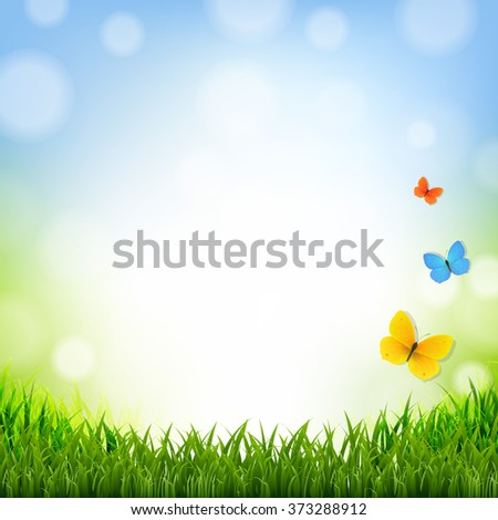 Easter Poster With Grass Border With Gradient Mesh, Vector Illustration - stock vector