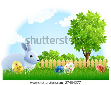 easter rabbit and eggs on the green garden grass - vector illustration