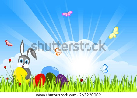 easter rabbit, colorful eggs and flowers in green grass, batterflies, sun rays and white clouds on blue sky, simple vector illustration - stock vector