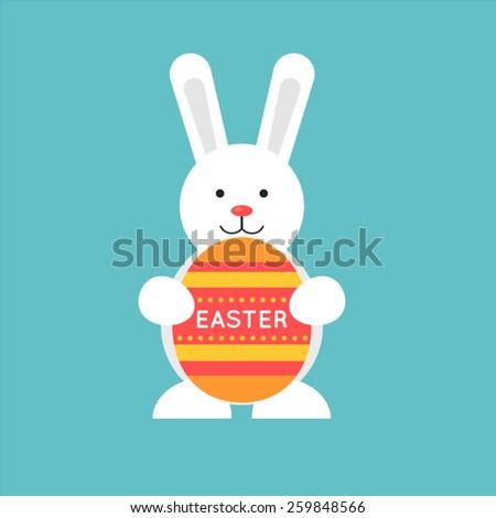 Easter rabbit holding an egg. Flat illustration. - stock vector